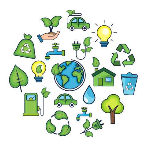 Graphic illustration on environmental themes including electric cars and renewable energy
