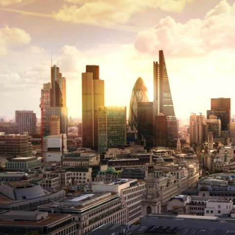 Picture of city of London high-rise buildings at sunset